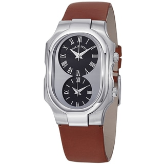 Philip Stein Women's 2-G-CBC-IBR 'Signature' Black Dial Brown Leather Strap Dual Time Watch