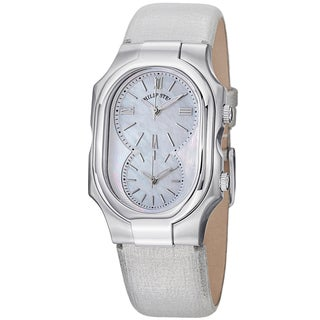 Philip Stein Women's 2N-CMOP-CMS 'Signature' Silver Dial Metallic Leather Strap Dual Time Watch