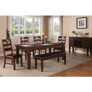 Olvia Walnut Finish 6 or 7-piece Dining Set with Bench