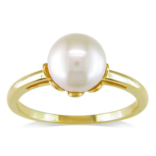 Miadora 14k Yellow Gold Akoya White Pearl Cocktail Ring (8-8.5 mm)