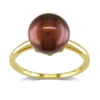 Miadora 14k Yellow Gold Chocolate Pearl Cocktail Ring (10-10.5 mm)