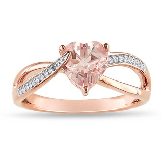Miadora Rose-plated Silver Morganite and Diamond Accent Heart Ring