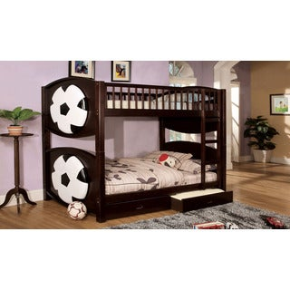 Soccer Dark Walnut Finish Marked Twin Over Twin Bunk Bed