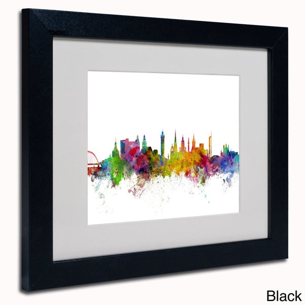 Michael Tompsett 'Glasgow Scotland Skyline' Framed Matted Art