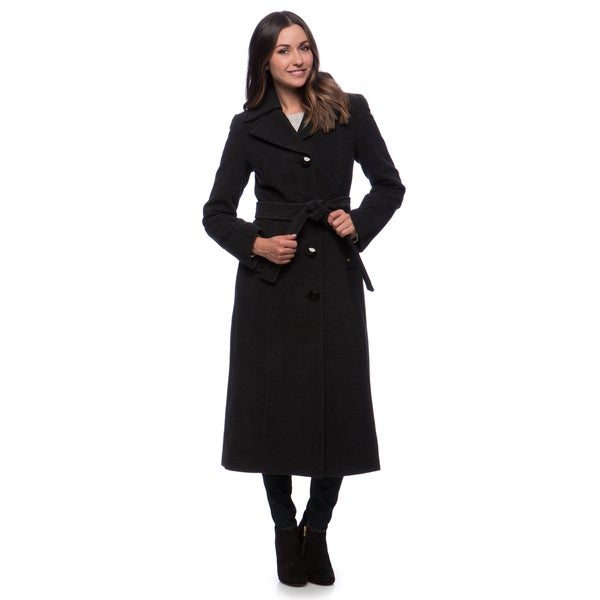 Ellen Tracy Belted Maxi Coat