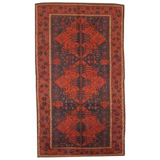Antique Persian Hand-knotted Hamadan Navy/ Rust Wool Rug (6' x 10'5)