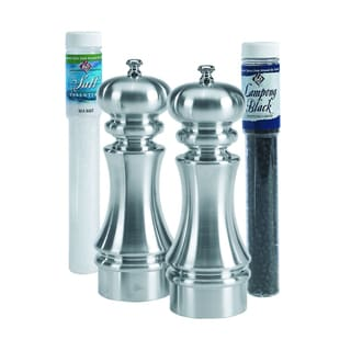 Brushed Metal Salt and Pepper Mill Set with Refills