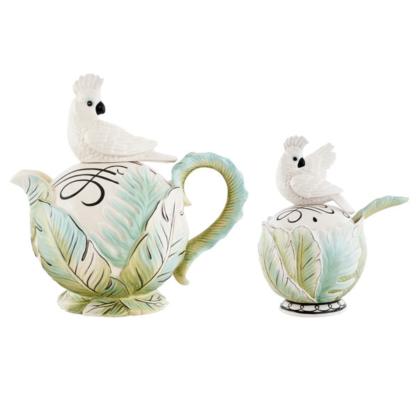 Fitz and Floyd Cockatoo Ceramic 3-piece Teapot Set