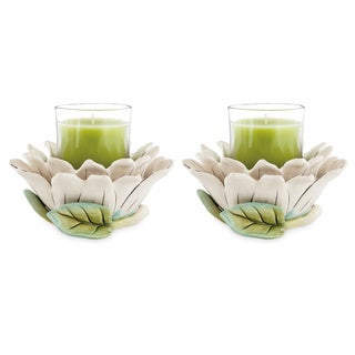 Fitz and Floyd Cockatoo Ceramic Votive 2-piece Candleholder Set