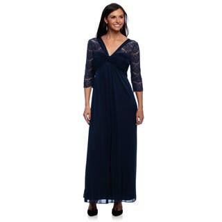 Alex Evenings Women's Petite Baltic Blue Lace-sleeve Long Dress
