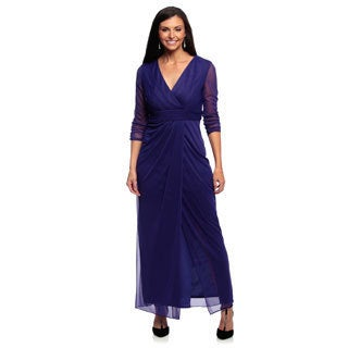 Alex Evenings Women's Petite Sapphire Blue Long Surplice Evening Gown