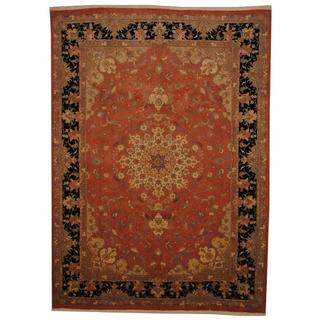 Persian Hand-knotted Tabriz Peach/ Black Wool and Silk Rug (6'7 x 9')