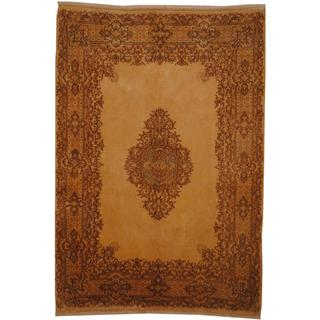 Antique 1960's Persian Hand-knotted Kerman Beige/ Light Blue Wool Rug (6' x 9'7)