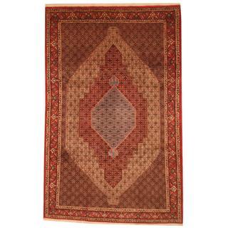 Persian Hand-knotted Moud Bidjar Red/ Ivory Wool Rug (6'7 x 10'4)