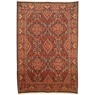 Persian Hand-knotted Kerman Navy/ Ivory Wool Rug (6'9 x 9'10)