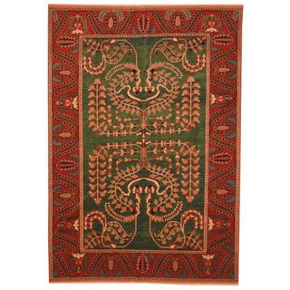Persian Hand-knotted Mahal Green/ Rust Wool Rug (6'4 x 9'2)