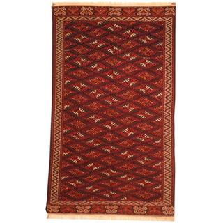 Antique 1960's Turkoman Hand-knotted Yamoud Burgundy/ Ivory Wool Rug (6'5 x 11')