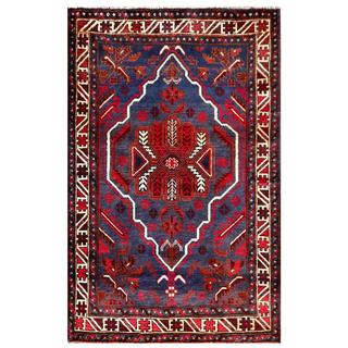 Semi-antique Afghan Hand-knotted Tribal Balouchi Burgundy/ Ivory Wool Rug (3' x 4'9)