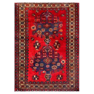 Herat Oriental Semi-antique Afghan Hand-knotted Tribal Balouchi Red/ Blue Wool Rug (2'9 x 3'9)