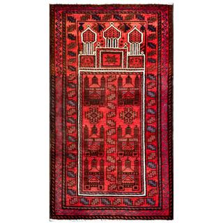 Herat Oriental Semi-antique Afghan Hand-knotted Tribal Balouchi Salmon/ Ivory Wool Rug (2'9 x 4'10)