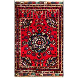 Herat Oriental Semi-antique Afghan Hand-knotted Tribal Balouchi Navy/ Red Wool Rug (2'10 x 4'6)