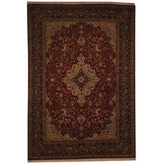 Indo Hand-knotted Kashmar Red/ Black Wool Rug (6'10 x 10')