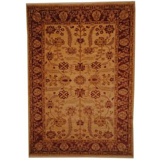 Afghan Hand-knotted Vegetable Dye Oushak Ivory/ Rust Wool Rug (6'6 x 9'4)