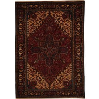 Herat Oriental Antique 1960s Persian Hand-knotted Heriz Red/ Navy Wool Rug (6'7 x 9'2)