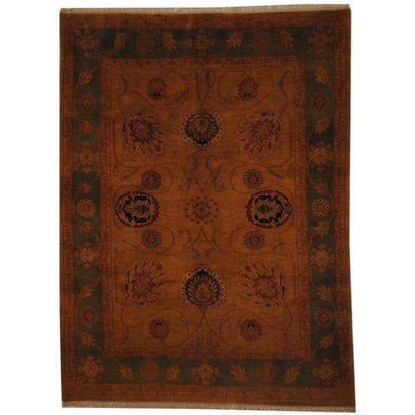 Herat Oriental Indo Hand-knotted Vegetable Dye Mahal Gold/ Green Wool Rug (7'3 x 9'8) 12985020