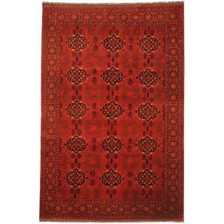 Afghan Hand-knotted Khal Mohammadi Red/ Navy Wool Rug (6'5 x 9'7)
