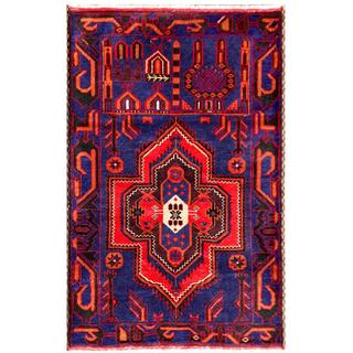 Semi-antique Afghan Hand-knotted Tribal Balouchi Red/ Navy Wool Rug (2'10 x 4'4)