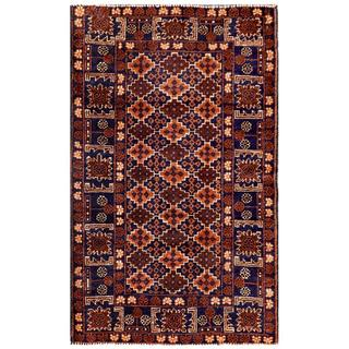 Semi-antique Afghan Hand-knotted Tribal Balouchi Navy/ Ivory Wool Rug (2'10 x 4'8)