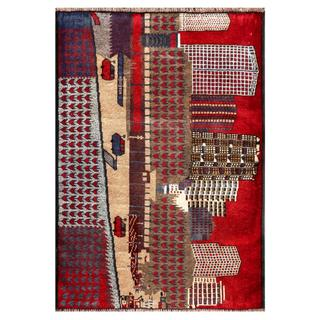 Semi-antique Afghan Hand-knotted Tribal Balouchi Beige/ Red Wool Rug (2'10 x 4')