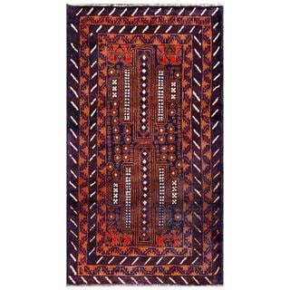 Semi-antique Afghan Hand-knotted Tribal Balouchi Navy/ Brown Wool Rug (2'6 x 4'9)