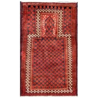 Semi-antique Afghan Hand-knotted Tribal Balouchi Salmon/ Navy Wool Rug (2'10 x 4'9)