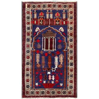Semi-antique Afghan Hand-knotted Tribal Balouchi Navy/ Ivory Wool Rug (2'9 x 4'9)