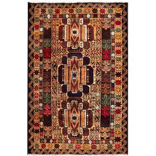 Semi-antique Afghan Hand-knotted Tribal Balouchi Tan/ Navy Wool Rug (2'10 x 4'3)