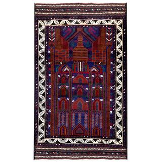 Semi-antique Afghan Hand-knotted Tribal Balouchi Blue/ Brown Wool Rug (2'8 x 4'6)