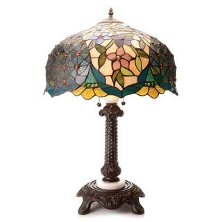Tiffany Style Spring Daisy 28-inch Stained Glass Table Lamp