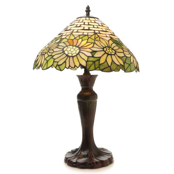 tiffanystyle 25inch rose doublelit stained glass table lamp. Black Bedroom Furniture Sets. Home Design Ideas