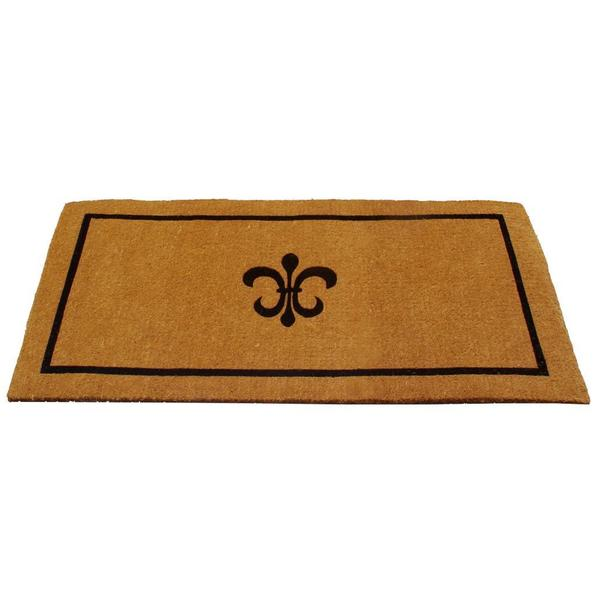 Black fleur de lis coconut fiber door mat overstock shopping big discounts on door mats - Fleur de lis doormat ...