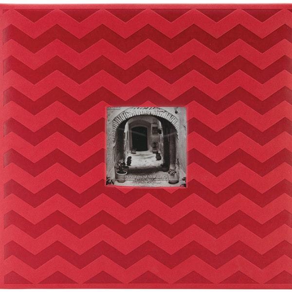 "Embossed Post Bound Scrapbook Album 12""X12""-Red Chevron"