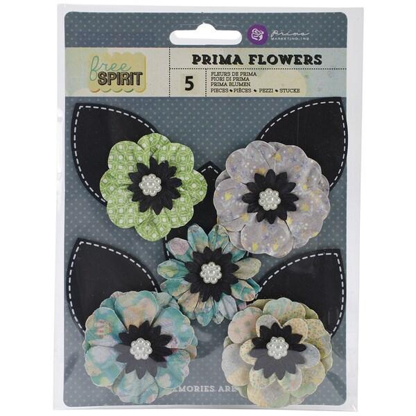 "Free Spirit Flowers-Paper Bell Bottoms 3"" W/Leaf 5/Pkg"