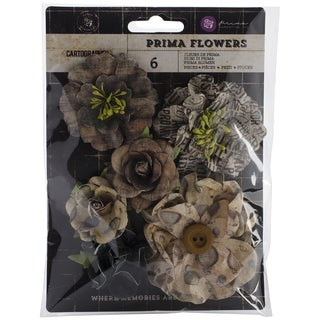 "Cartographer Flowers-Paper Drifter 1.5"" To 3"" 6/Pkg"