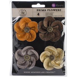 "Briella Fabric Flowers W/Button 2"" To 2.5"" 4/Pkg-Beautiful"