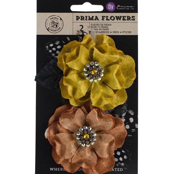 "Plume Fabric Flowers W/Rhinestones 3.25"" 2/Pkg-Saffron"