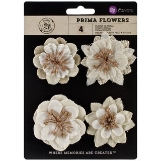 "Jutes Burlap Flowers 2"" To 2.75""-Jeweled 4/Pkg"
