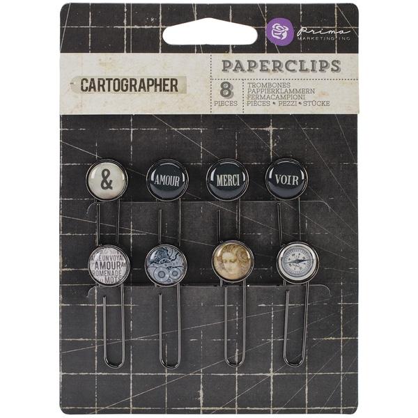 Cartographer Typewriter Key Paper Clips 2in 8/Pkg