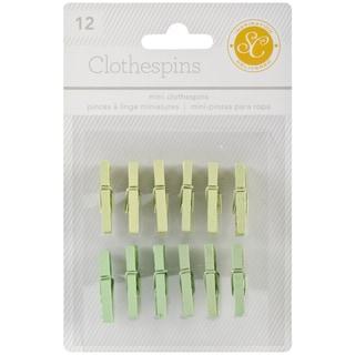 """Essentials Wood Clothespins 1"""" 12/Pkg-Greens"""
