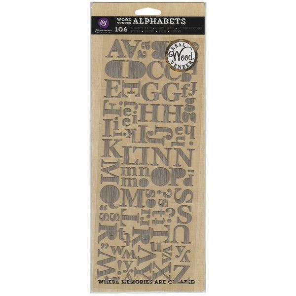 Wood Veneer Alphas 106 Pieces/Pkg-Light